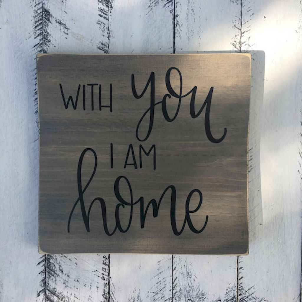 48 rustic wood sign ideas with motivation quotes (36)