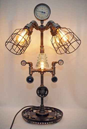 70 cheap diy industrial pipe lamps ideas to decor your home (26)