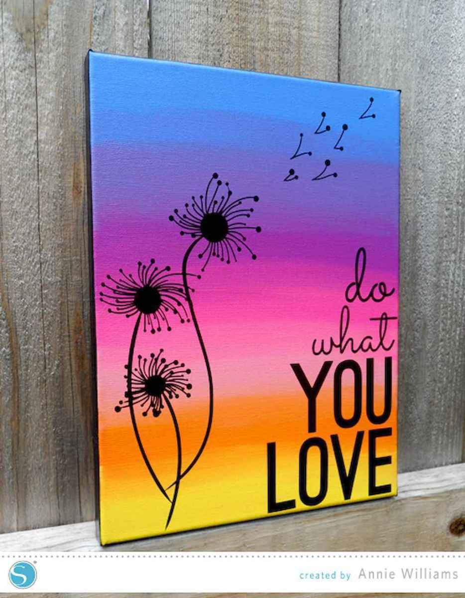 Best wall decoration canvas painting ideas with inspirational quotes (37)