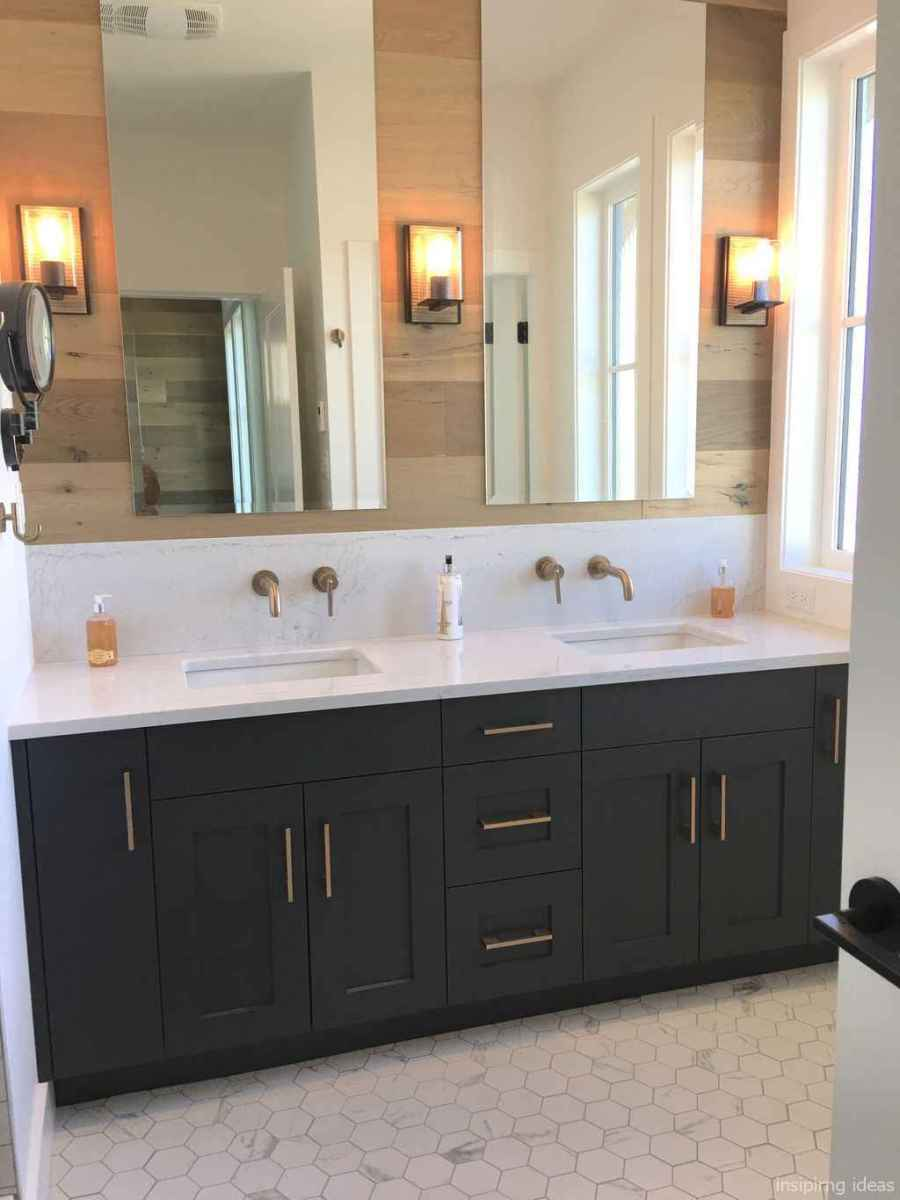 50 modern farmhouse small bathroom wall color ideas 48