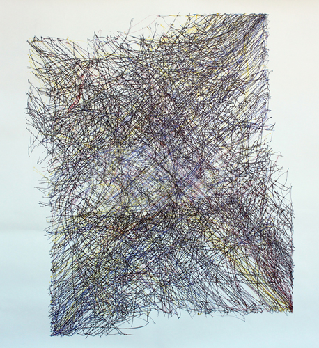 """Longwave, 40"""" x 40"""", ink on paper"""