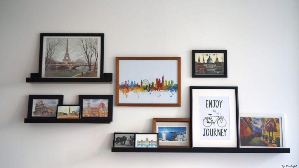 Wall Decor Ideas - frames and shelves