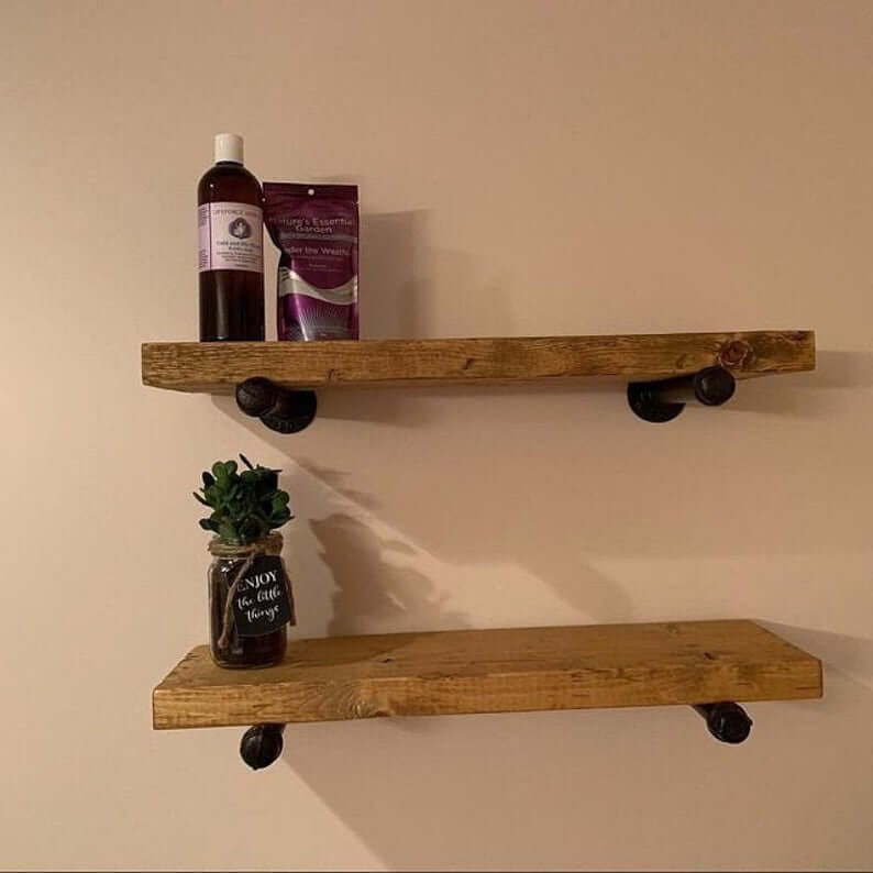 Rustic Wood Industrial Pipe Shelf