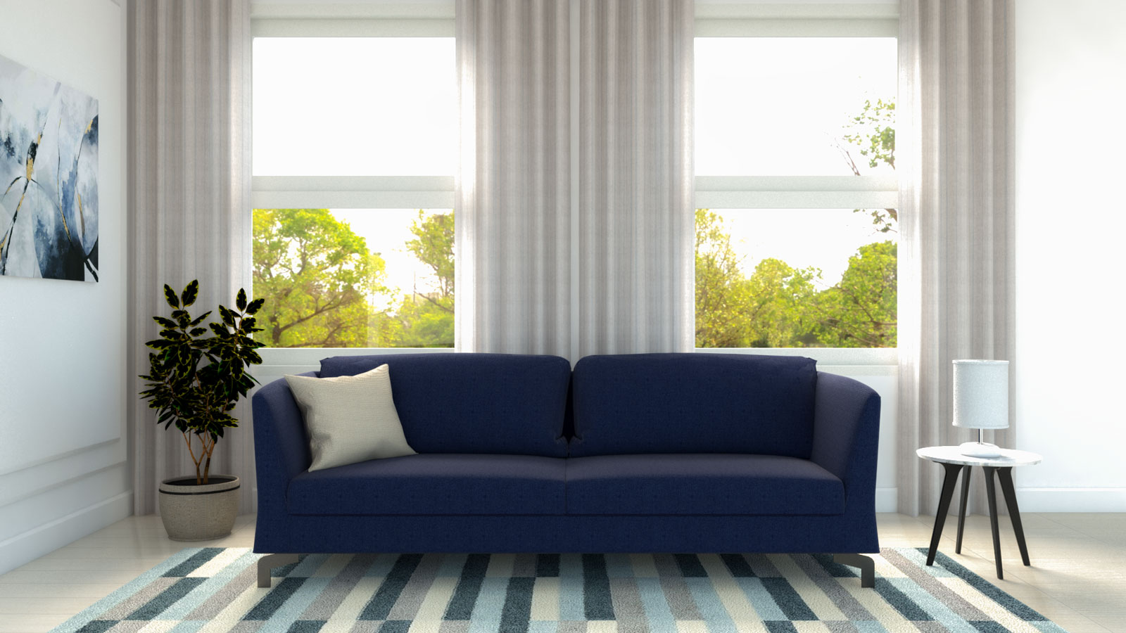 what color curtains go with blue couch