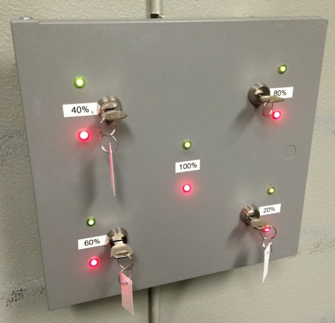 Each team can track the progress of the other via the LEDs on the control panel.