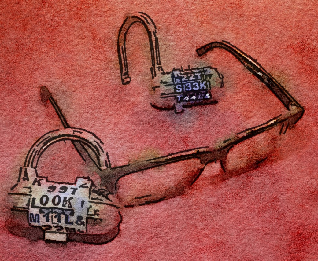 "Water color painting of glasses. A combination lock is secured around the glasses spelling ""LOOK!"" A second lock is unlocked behind it spelling ""SEEK!"""