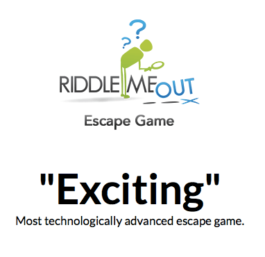 """Screenshot of Riddle Me Out's website. States, """"Exciting. Most technologically advanced escape game."""""""