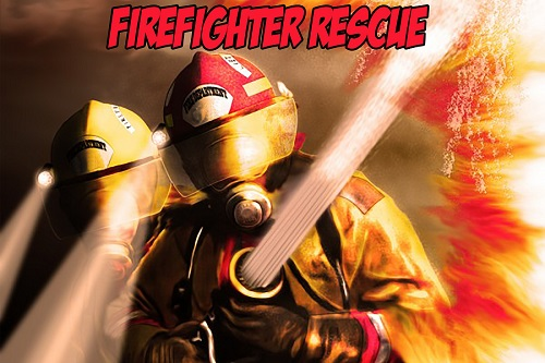 An illustrated image of two fire fighers hosing down flames. Red text reads,