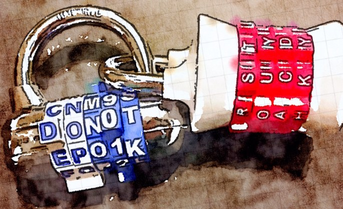 "Watercolor of two letter locks intertwined. One lock reads, ""DO NOT"" the other reads, ""SUCK."""