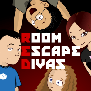 Room Escape Divas Logo, a cartoon representation of the four hosts.