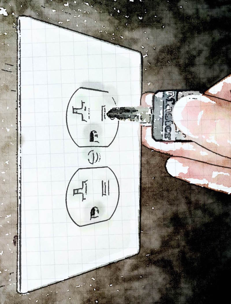 Watercolor of an electrical outlet and a hand pushign a key into it.