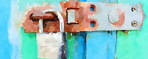Watercolor of worn lock and rusted hasp on a blue and sea green backdrop.