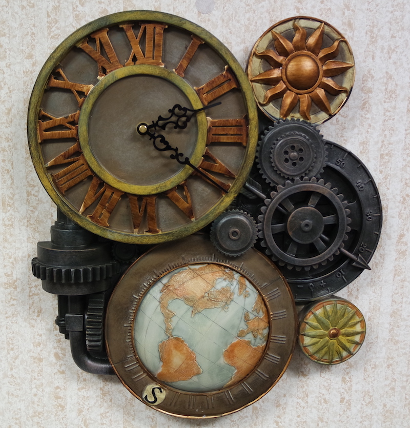 A wall mounted clock as art with large gears, a globe and other steam-punkish adornments.