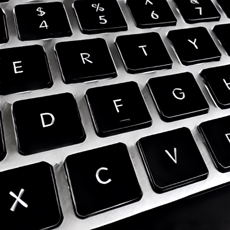 A black & white closeup drawing of a computer keyboard.