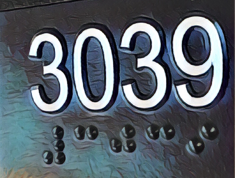 "Paiting of the numbers ""3039"". Beneath the numbers are the braille representations of those numbers."