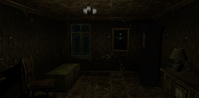 In-game screen shot of a dimly lit haunted room.
