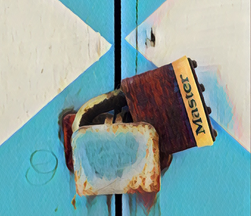 Painting of a rusted Master Lock No. 1 with a yellow base against a blue and white door.