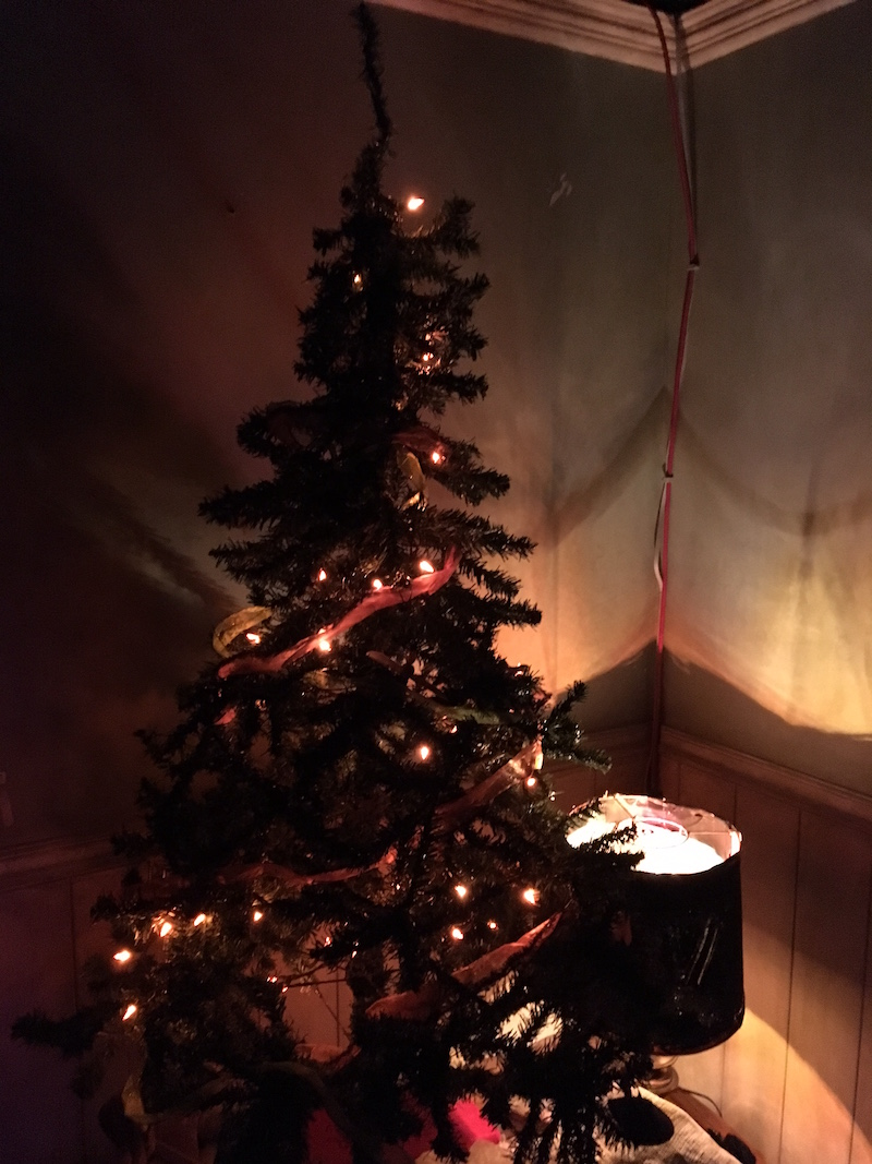 In-game image of a dramatically lit Christmas tree in a dark and creepy home.