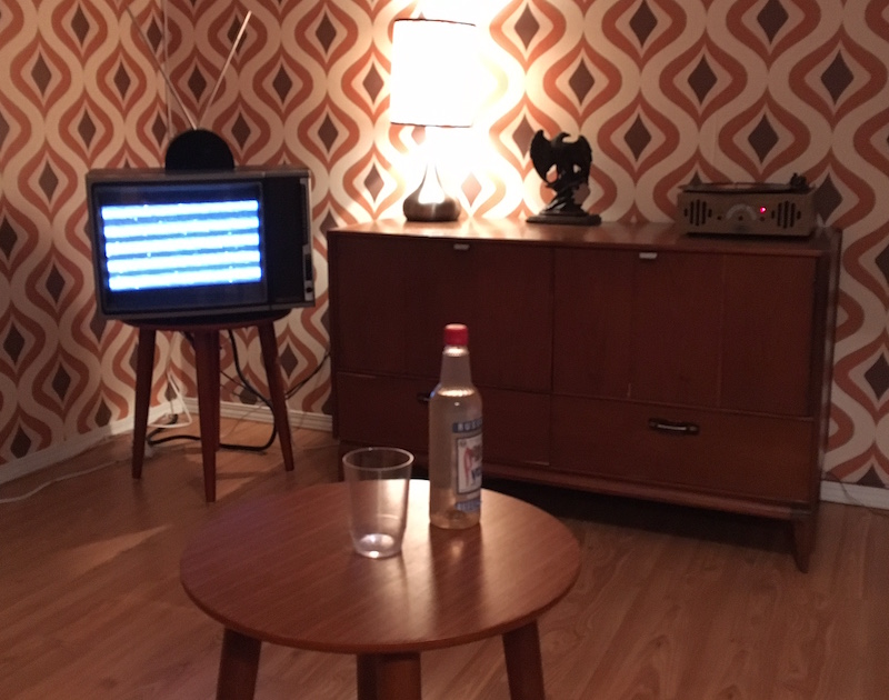 In-game, livingroom with an old television and record player in the background. A bottle of vodka and a glass rest on a small table in the foreground.
