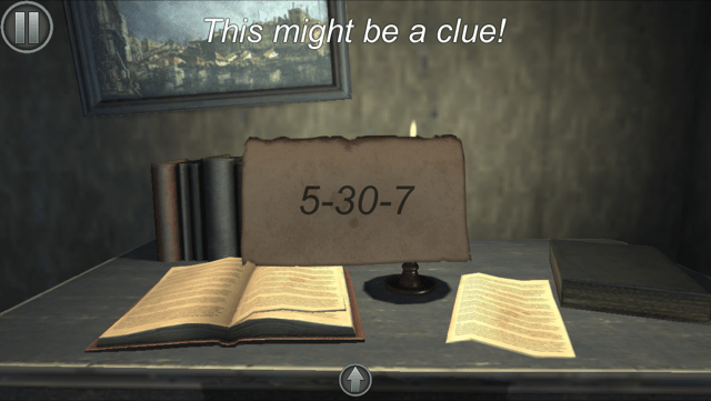 "In game: a piece of paper reads, ""5-30-7"" above it a message displays reading, ""This might be a clue!"""