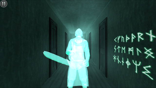In game: a ghost in a hallway holding a chainsaw.