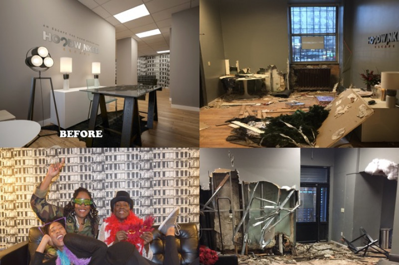 Before and after photos of the Hoodwinked facility. There is a lot of damage.