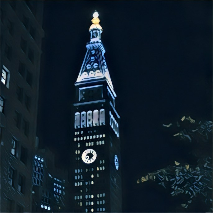 Stylized nighttime image of the Metlife Building in Midtown Manhattan.