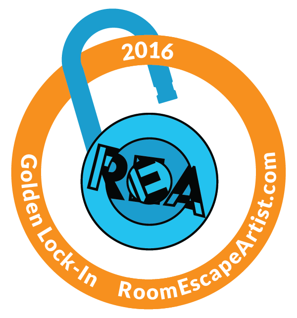 2016 RoomEscapeArtist.com Golden Lock-In Award - golden ring around the REA logo turned into a lock.