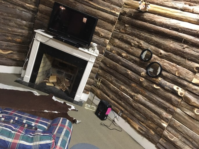 In-game: A cabin with wooden log walls, a leather rug, a fireplace, space heater, and a plaid couch.