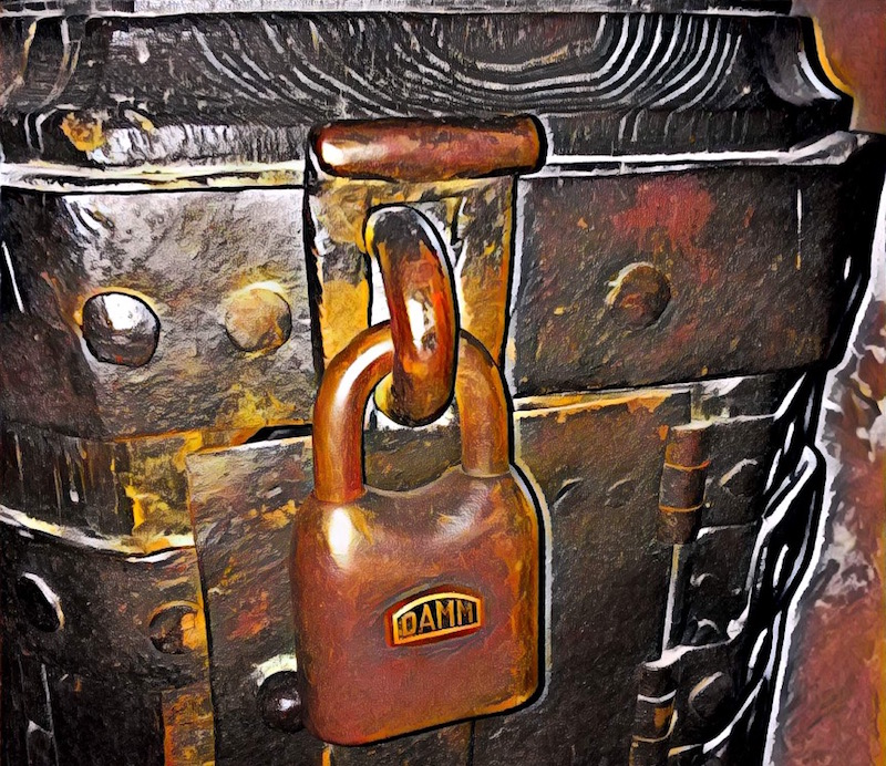 Painting of an ancient lockbox with a very old and large padlock.