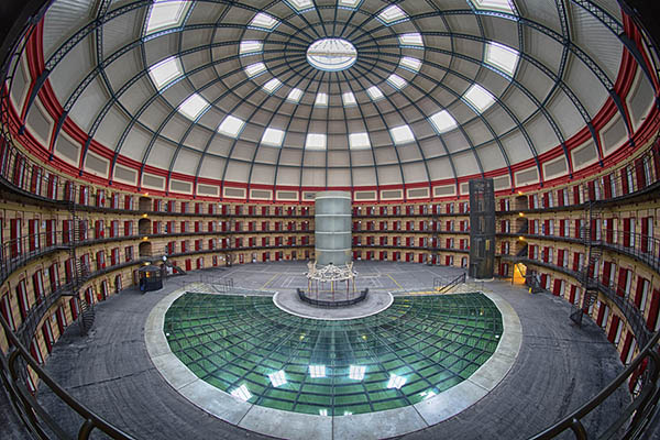 The Prison Dome Breda, an expansive dome with cells along the side.