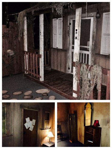 A mosaic of in-game images depicting an old, rundown home.