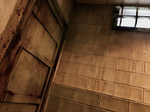 In game: A heavily weather concrete wall with a metal door.