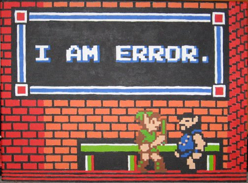 Image from Zelda II of Link speaking with another character who has stated,