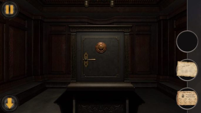 In game: An old safe on a small table in the middle of a large room.