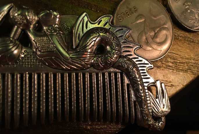 In-game: A metal comb with a dragon on it beside a coin with a snake on it.