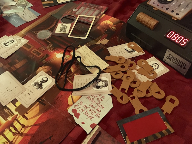 The chrono decoder, hint decoder, keys and various components from Murder Mystery.