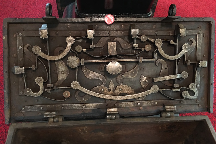 The locking mechanism in the lid of a Spanish Armada treasure chest. It is incredibly complex.