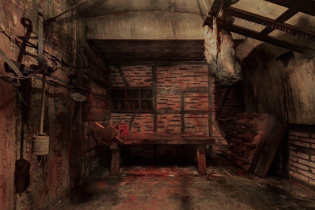In-game: A torture dungeon filled with bloodied implements of pain infliction.