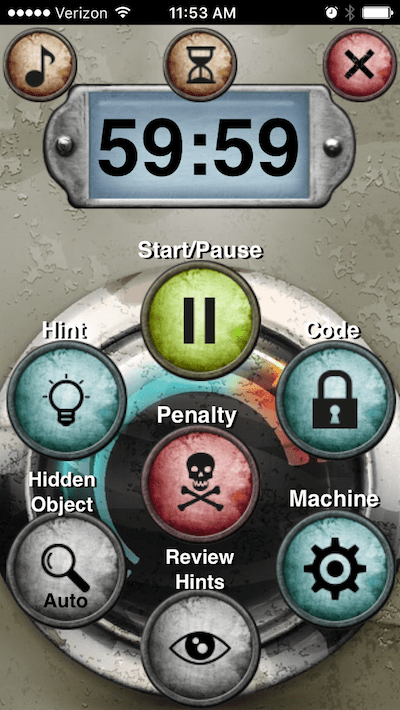 The app's screen depicts the timer, start/pause, hint system, penalty marker, and code/machine input.