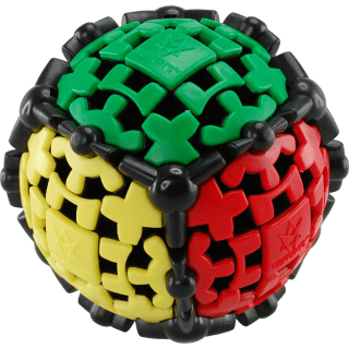 A multi colored ball made of up of tiny gears.