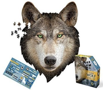 A puzzle made to look like a majestic wolf's head.