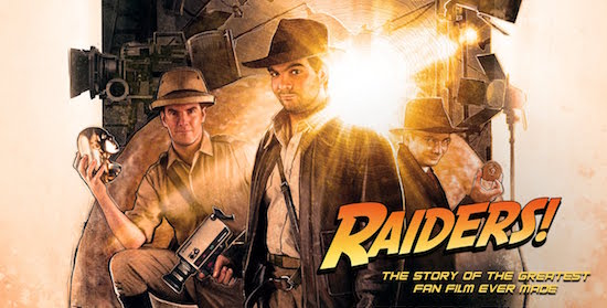 Movie cover for Raiders! depicts the 3 main characters dressed in their costumes.