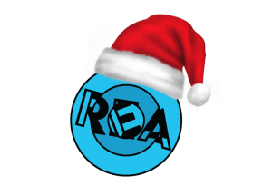 REA logo with a santa hat.