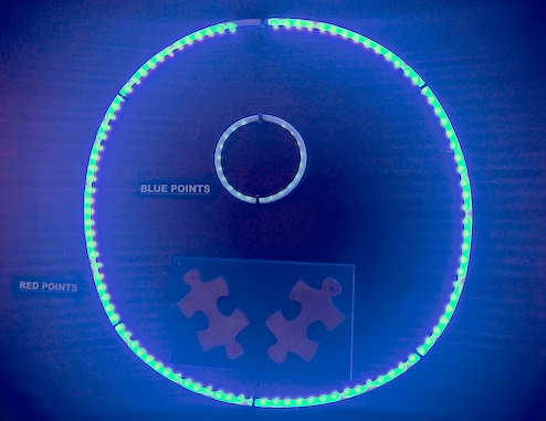 """In-game: The score rings, a large ring for """"Red Points"""" and a smaller ring for """"Blue Points."""""""