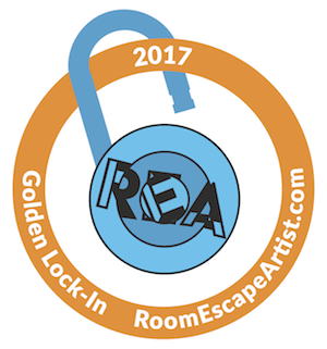 The 2017 Golden Lock-In award, the REA logo turned into an open padlock with a golden ring around it.