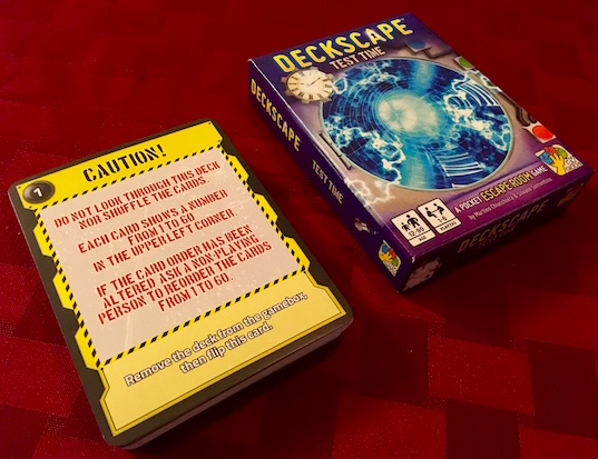 Deckscape Caution! introduction card explaining that cards should not be flipped unless they say so, and they should not be reorded.