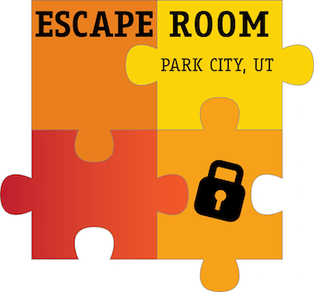 Escape Room Park City, UT logo, 4 interlocking puzzle pieces with a black lock over one of them.