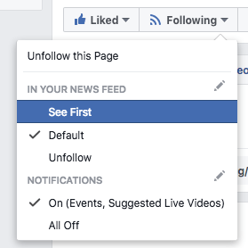 "Facebook's following dropdown, set to ""Default"" with ""See First"" highlighted."