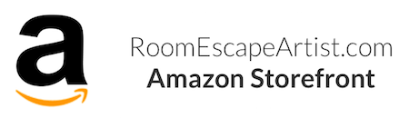 Amazon logo locked up with Room Escape Artist Amazon Storefront.